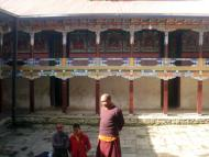 Ang Gelu Sherpa collecting information from Head Monk about the Monastery