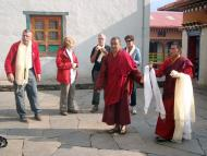 Chief Lama from Serlo Monstery, thanking the group by offering Khada(White scarf) during the tea program at Serlo Monastery