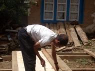 Local carpenter on the site