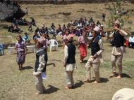 Local girls and boys performing the Sherpa and Nepali dance  at welcome ceremony