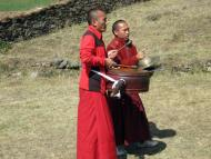 Monks playing Drum at Welcome Ceremony