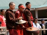 Monks from Thubten Choling Monastery welcoming the guests