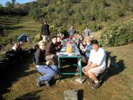 Group picture at camp site while having breakfast