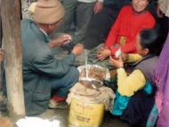 Selling butter at the Salleri markets. The Butter has been carried from their village to the market.